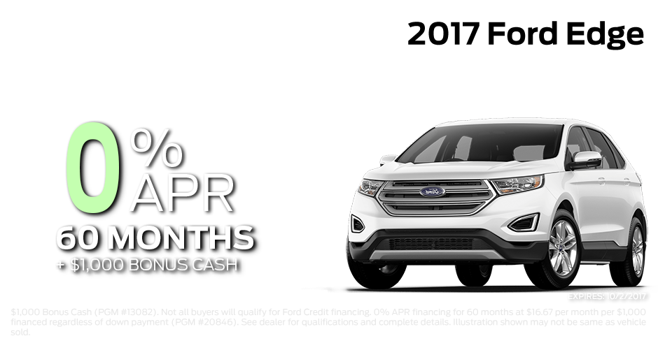 Check out these new car finance specials on the all new Ford Edge. Contact our dealership in Steamboat Springs for more details!